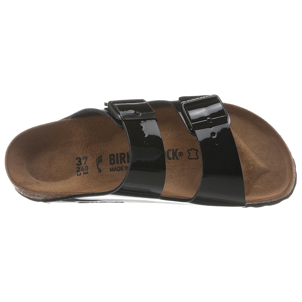 Birkenstock Pantolette »ARIZONA Patent«, in glänzender Lack-Optik, Schuhweite: schmal
