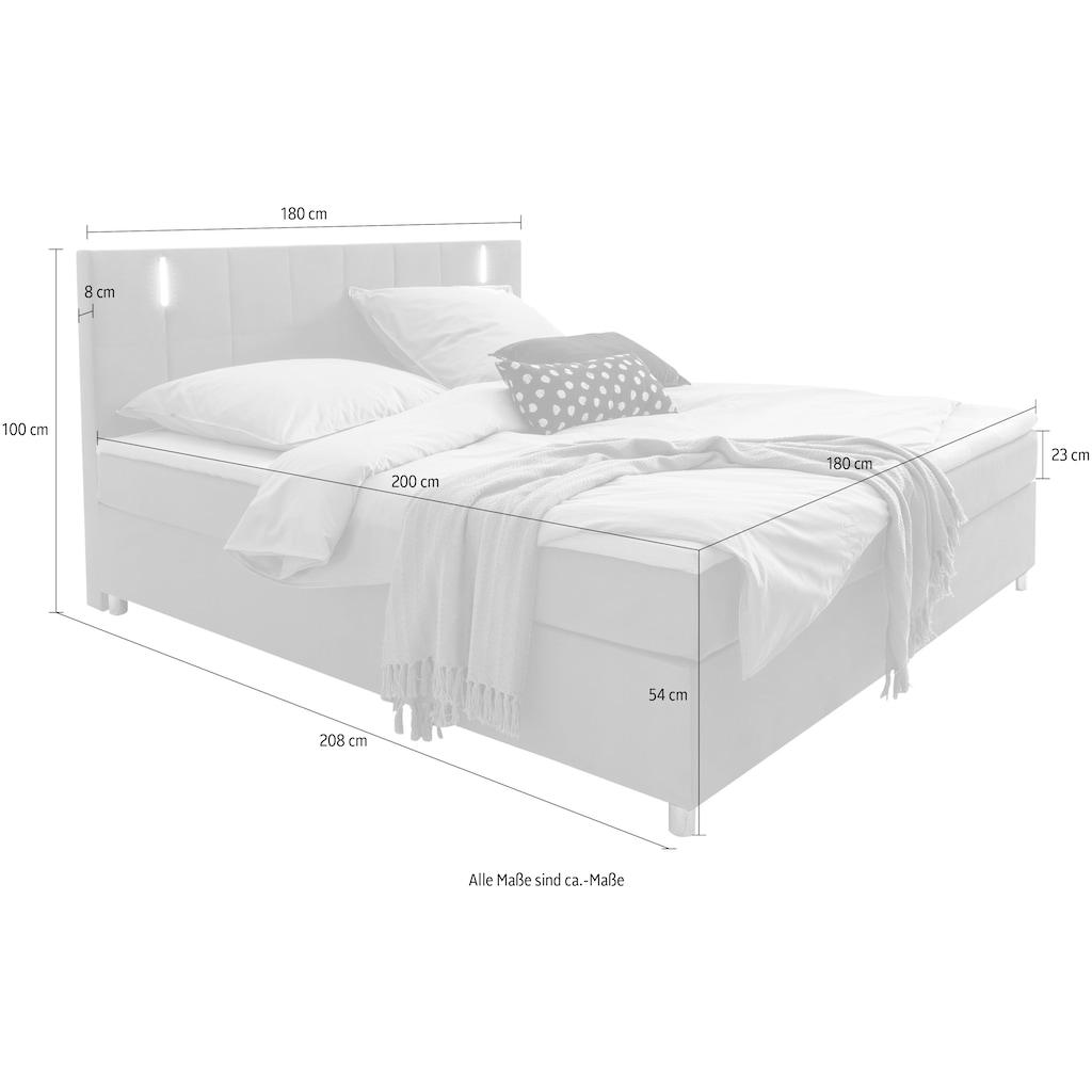 SalesFever Bett, mit LED-Beleuchtung im Kopfteil, Lounge Bett in weichem Samtvelours, Design Bett mit Matratze und Topper