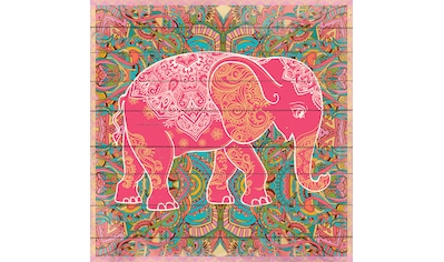 queence Holzbild »Elefant im Muster«, 40x40 cm kaufen