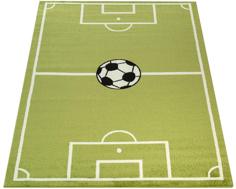 Paco Home Kinderteppich ECE Fussball 953, rechteckig, 14 mm Höhe, Kurzflor, Fußball Spielteppich, Kinderzimmer grün Kinder Bunte Kinderteppiche Teppiche