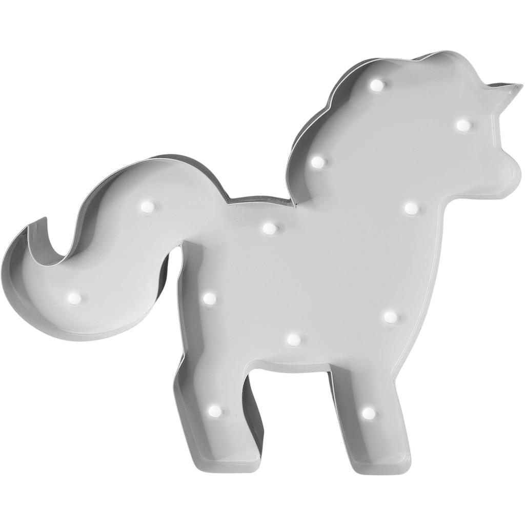MARQUEE LIGHTS LED Dekolicht »Pferd Pferdchen«, 1 St., Warmweiß, Wandlampe, Tischlampe Horse mit 12 festverbauten LEDs - 23cm Breit und 19cm hoch