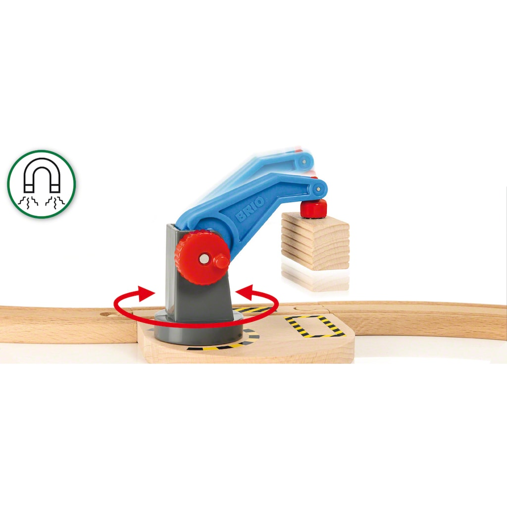 BRIO® Spielzeug-Eisenbahn »BRIO® WORLD Starterset Güterzug mit Kran«, Made in Europe, FSC®-Holz aus gewissenhaft bewirtschafteten Wäldern