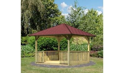 KARIBU Set: Holzpavillon »Cordoba 2«, BxT: 357x357 cm, inkl. Brüstung und Fußboden kaufen