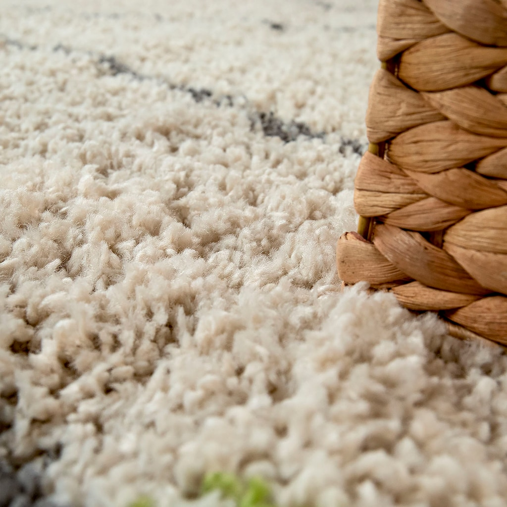 Paco Home Teppich »Wooly 282«, rechteckig, 40 mm Höhe, Hochflor-Shaggy, Scandi-Muster, mit Fransen, Wohnzimmer