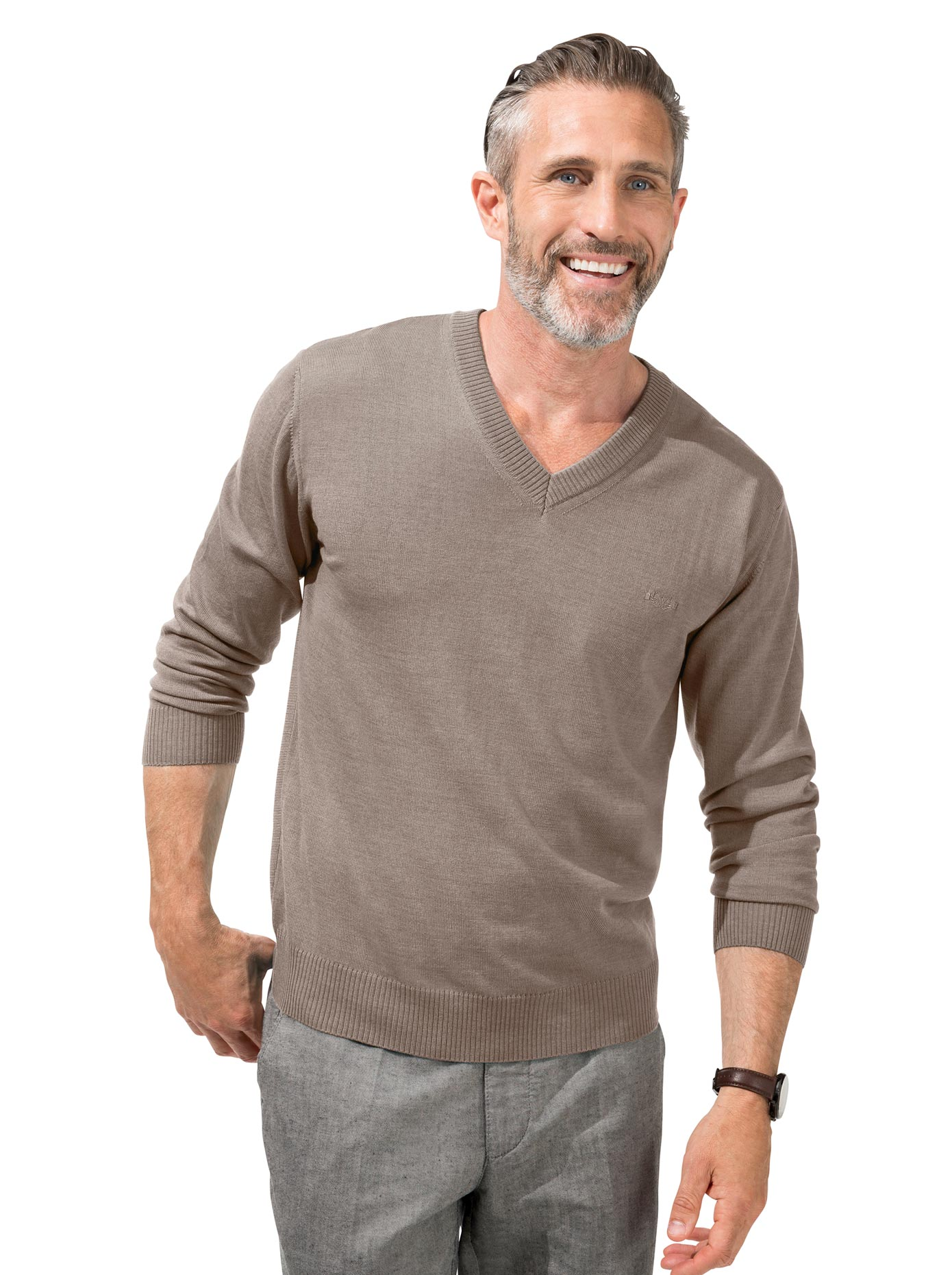 Classic V-Pullover im edlen Feinstrick | Bekleidung > Pullover > V-Pullover | marco donati