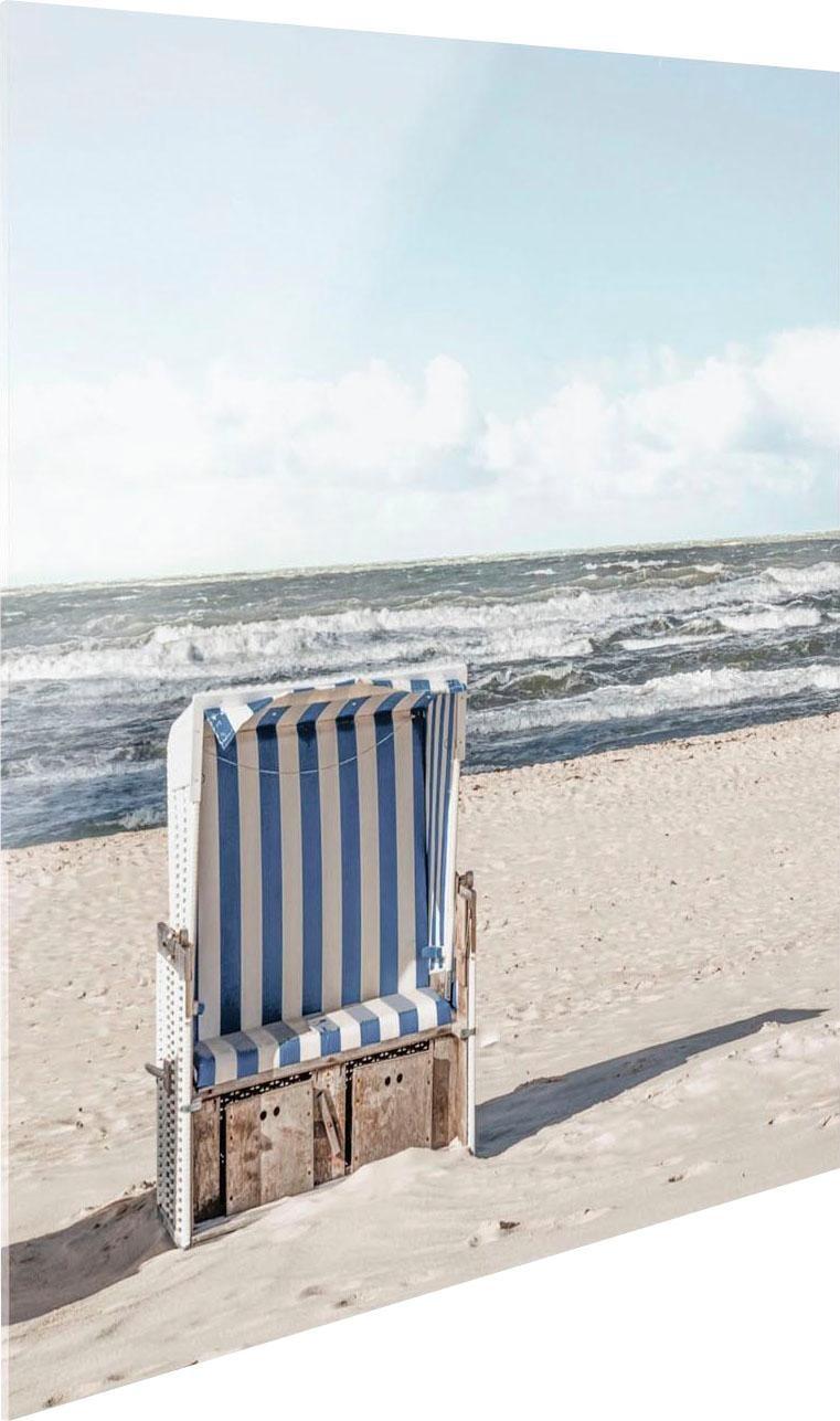 Glasbild Strandkorb beige Glasbilder Bilder Bilderrahmen Wohnaccessoires
