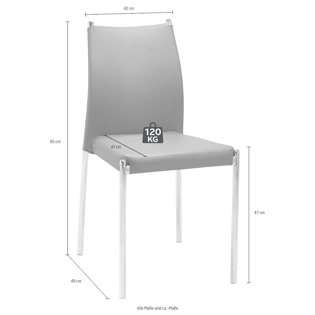 Esszimmerstuhl »Silje«, (2 oder 4 Stück), Bezug in Kunstleder, verchromtes Metallgestell