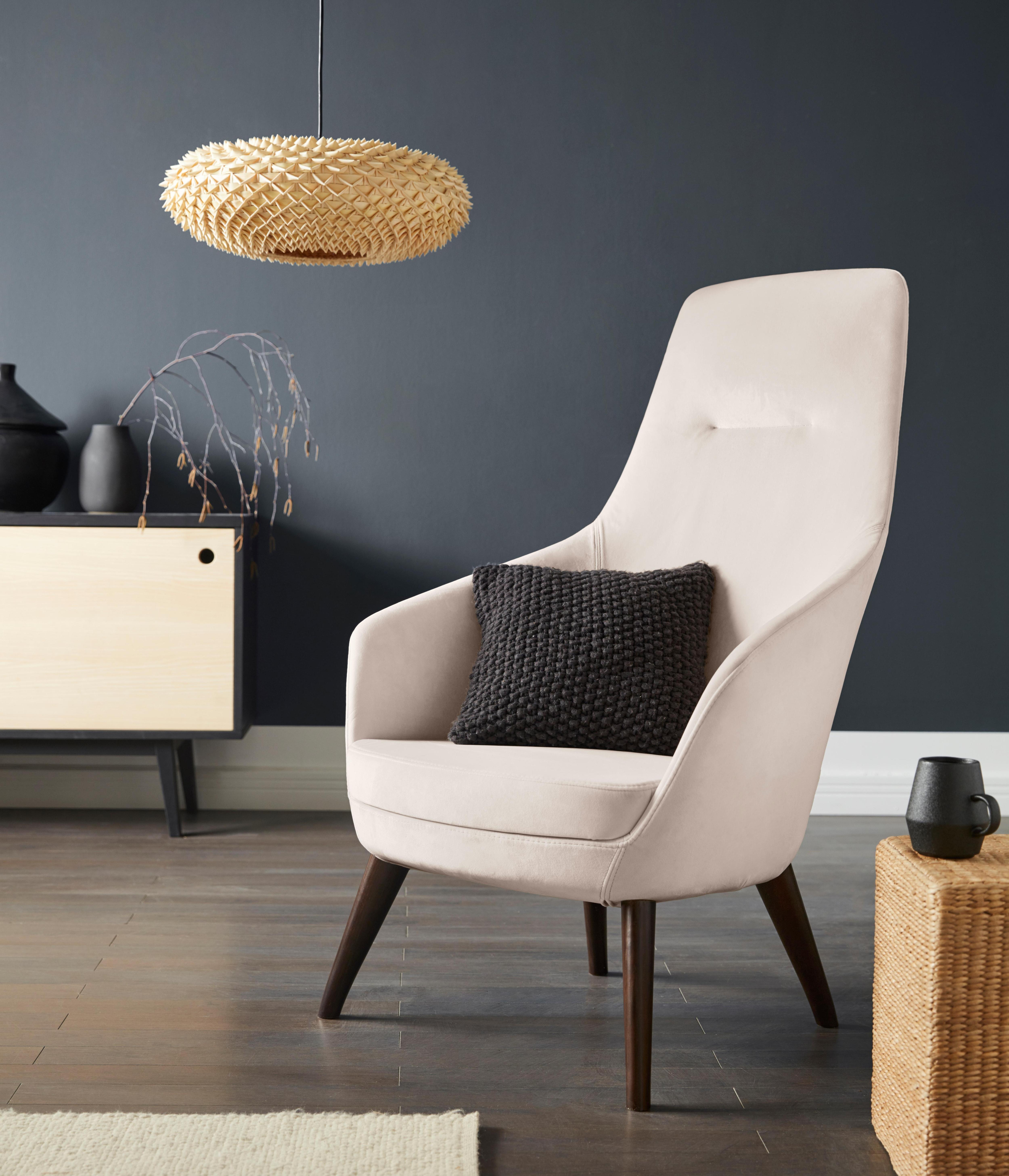 andas Sessel Rina mit Füßen aus massiver Esche natur-oder wallnussfarben lackiert