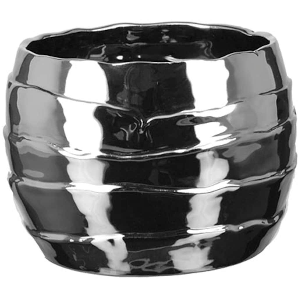Fink Übertopf »2er Set COCON, silberfarben«, (Set, 2 St.), dekorativer Blumentopf, aus Keramik, Metall-Effekt, in verschiedenen Größen erhältlich, Wohnzimmer