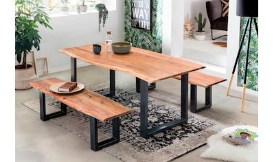 SIT Essgruppe, (Set, 3 tlg., 1 Tisch und 2 Bänke), Mit natürlicher Baumkante kaufen