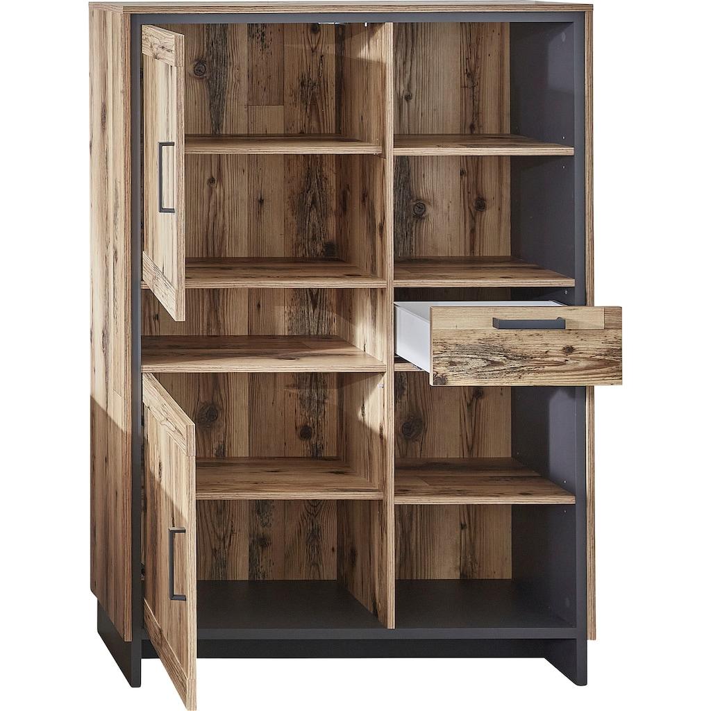 Innostyle Hochkommode »Prato«, Breite 100 cm, 2 Holztüren, 1 Schubkasten, 5 offene Fächer