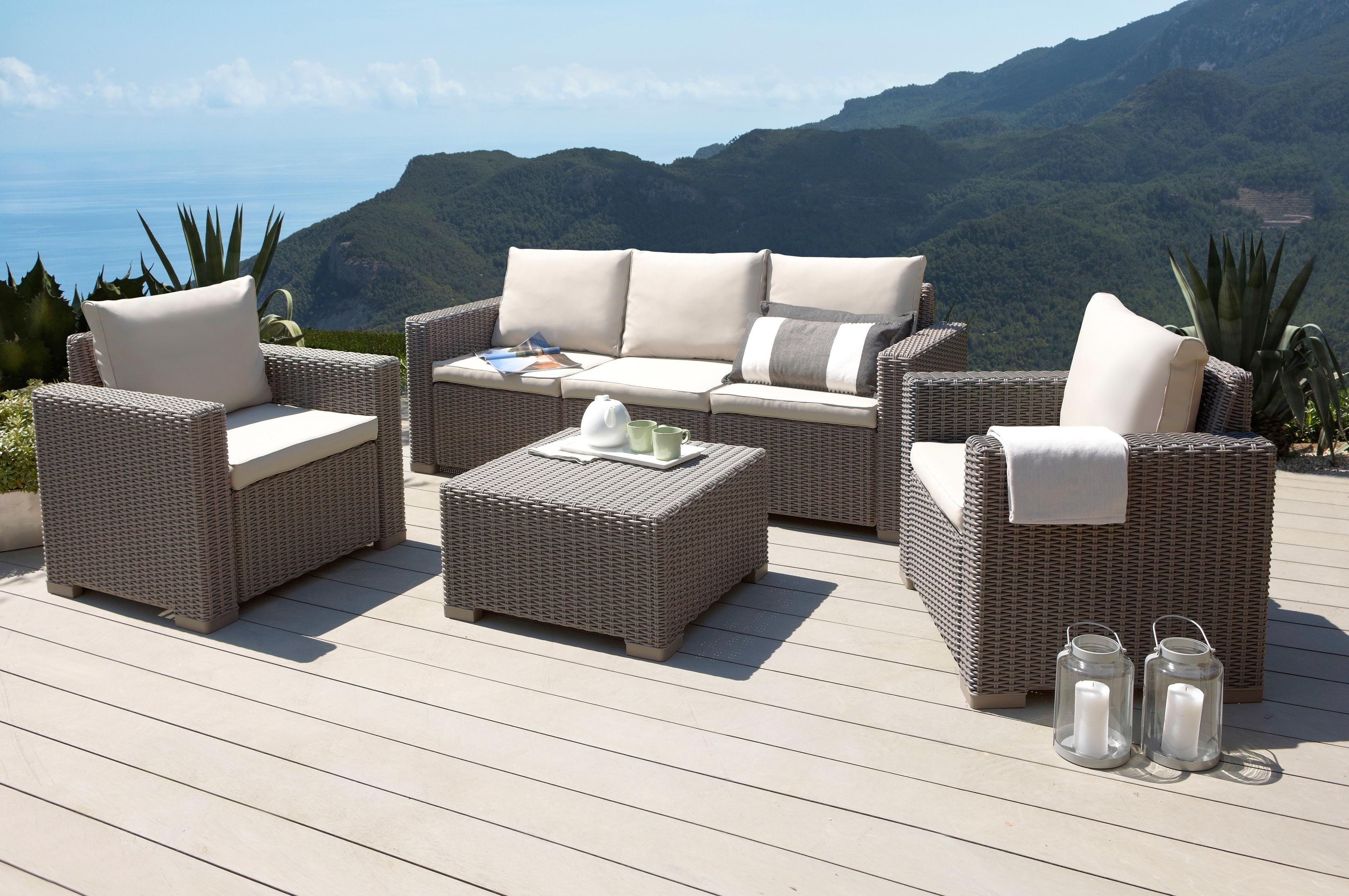 BEST Loungeset Mombasa 14-tlg 3er-Sofa 2 Sessel Tisch 68x68 cm Kunststoff