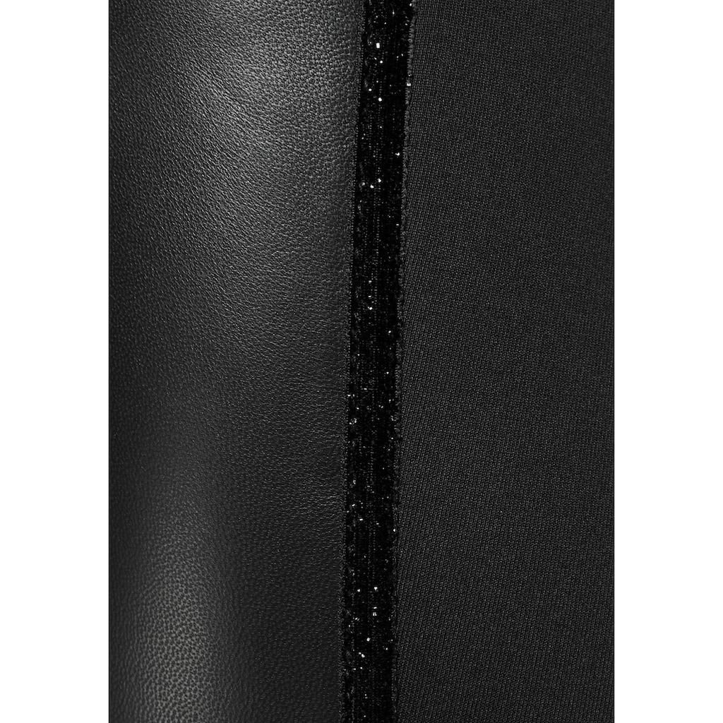 Bruno Banani Leggings, Vorderteil aus Lammnappa Leder, Rückenteil aus sehr elastischer Ware
