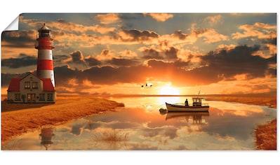 Artland Wandbild »Maritime Idylle beim Leuchtturm«, Gebäude, (1 St.), in vielen Größen & Produktarten -Leinwandbild, Poster, Wandaufkleber / Wandtattoo auch für Badezimmer geeignet kaufen