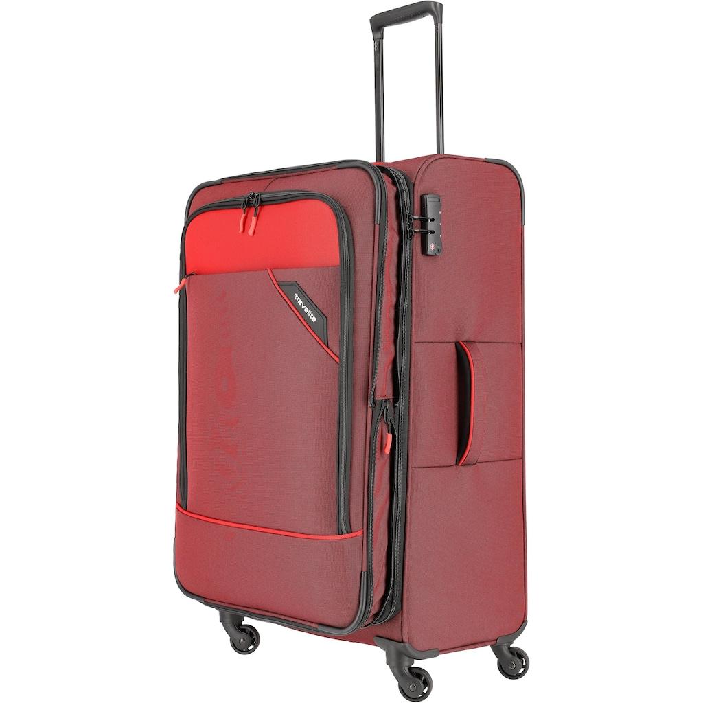 travelite Weichgepäck-Trolley »Derby, 77 cm, rot«, 4 Rollen, mit Volumenerweiterung