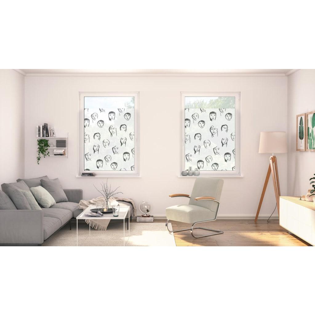 LICHTBLICK ORIGINAL Fensterfolie »Fensterfolie selbstklebend, Sichtschutz, Faces - Schwarz«, 1 St., blickdicht, glattstatisch haftend