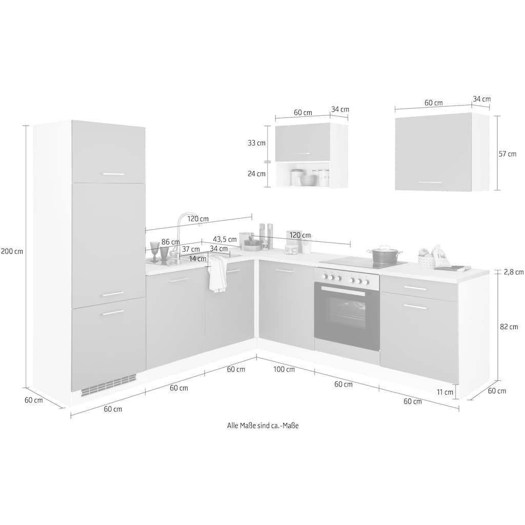 HELD MÖBEL Winkelküche »Visby«, ohne E-Geräte, Stellbreite 240 x 240 cm