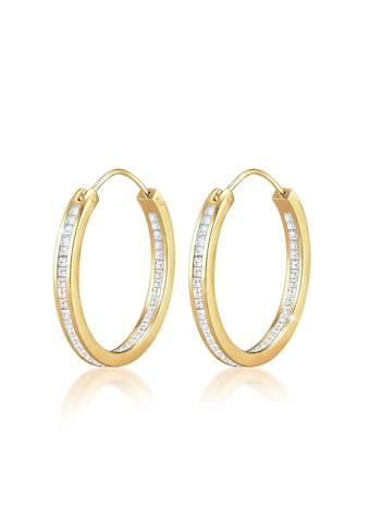 Elli Paar Creolen »Creolen Kristalle Rund 925 Silber« kaufen