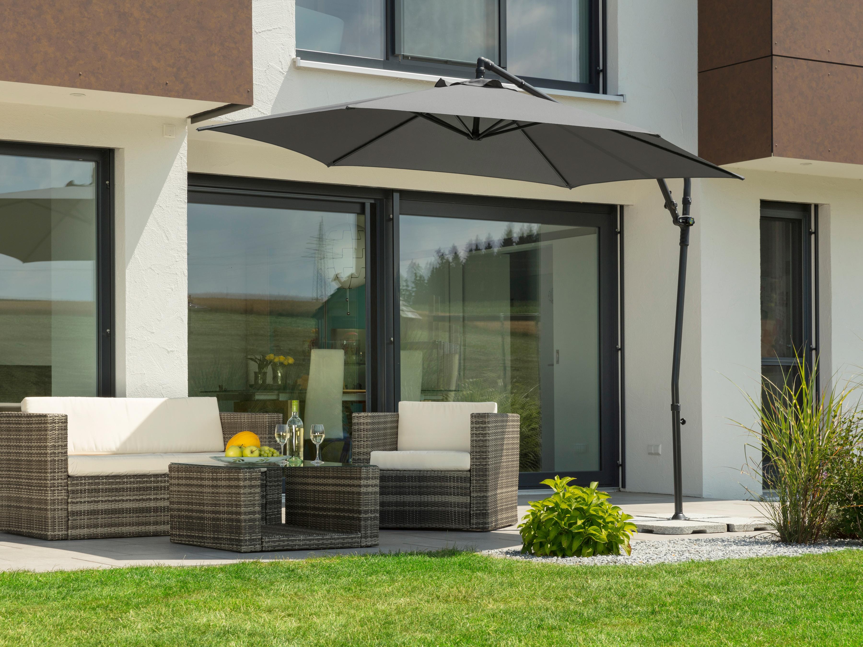 Schneider Schirme Ampelschirm Genua, mit Schirmständer, ohne Wegeplatten grau Sonnenschirme -segel Gartenmöbel Gartendeko