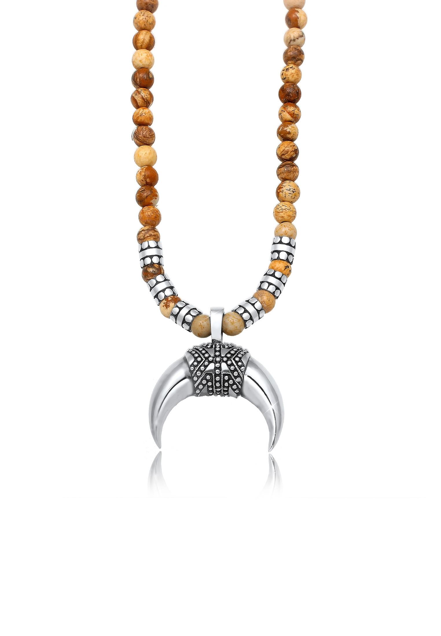 Kuzzoi Silberkette Herren Halbmond Achat Jasper Look 925er Silber | Schmuck > Halsketten | Kuzzoi