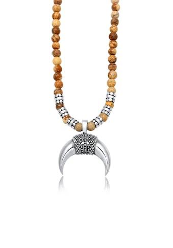 Kuzzoi Silberkette »Herren Halbmond Achat Jasper Look 925er Silber« kaufen