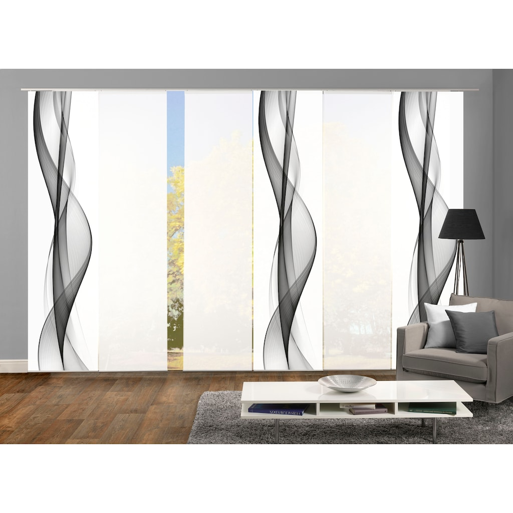 HOME WOHNIDEEN Schiebegardine »WELLANA 6er SET«, Dekostoff-Seidenoptik, Digital bedruckt