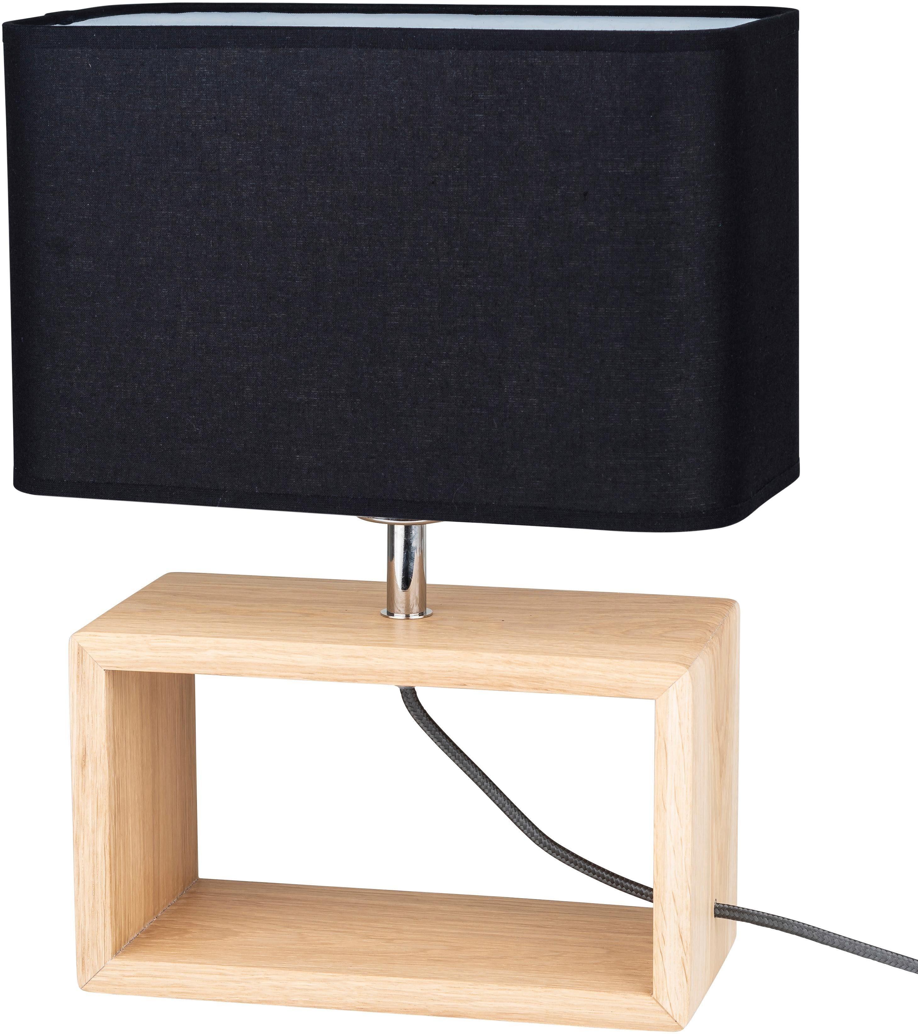 BRITOP LIGHTING Tischleuchte CADRE, E27, Zeitlose Leuchte aus Eichenholz, Naturprodukt - nachhaltig, hochwertiger Stoffschirm, Passendes LM E27, Made in EU