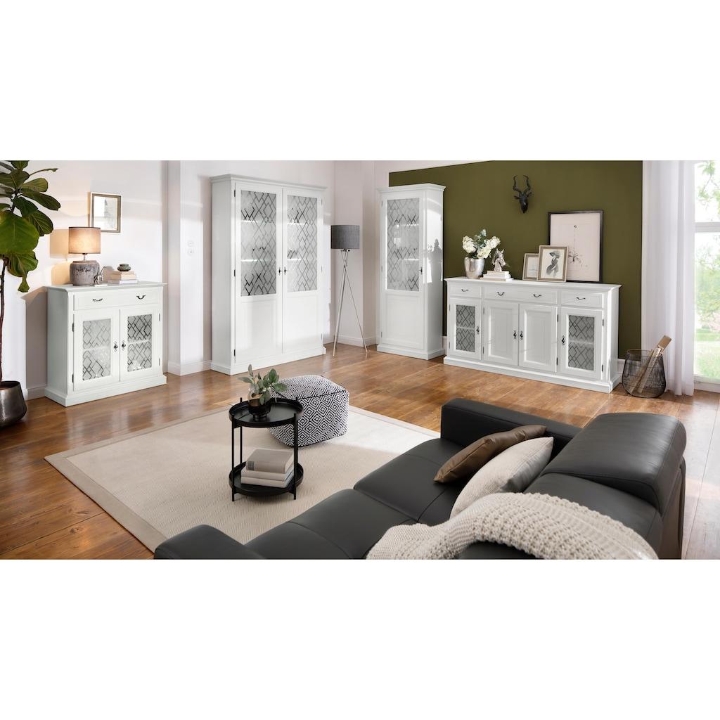 Premium collection by Home affaire Kommode »Kodia«, mit schönem Glasmuster auf den Türfronten, 2-türig, 89 cm breit