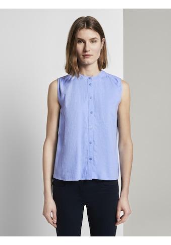 TOM TAILOR Blusentop »Ärmellose Hemdbluse aus Leinengemisch« kaufen
