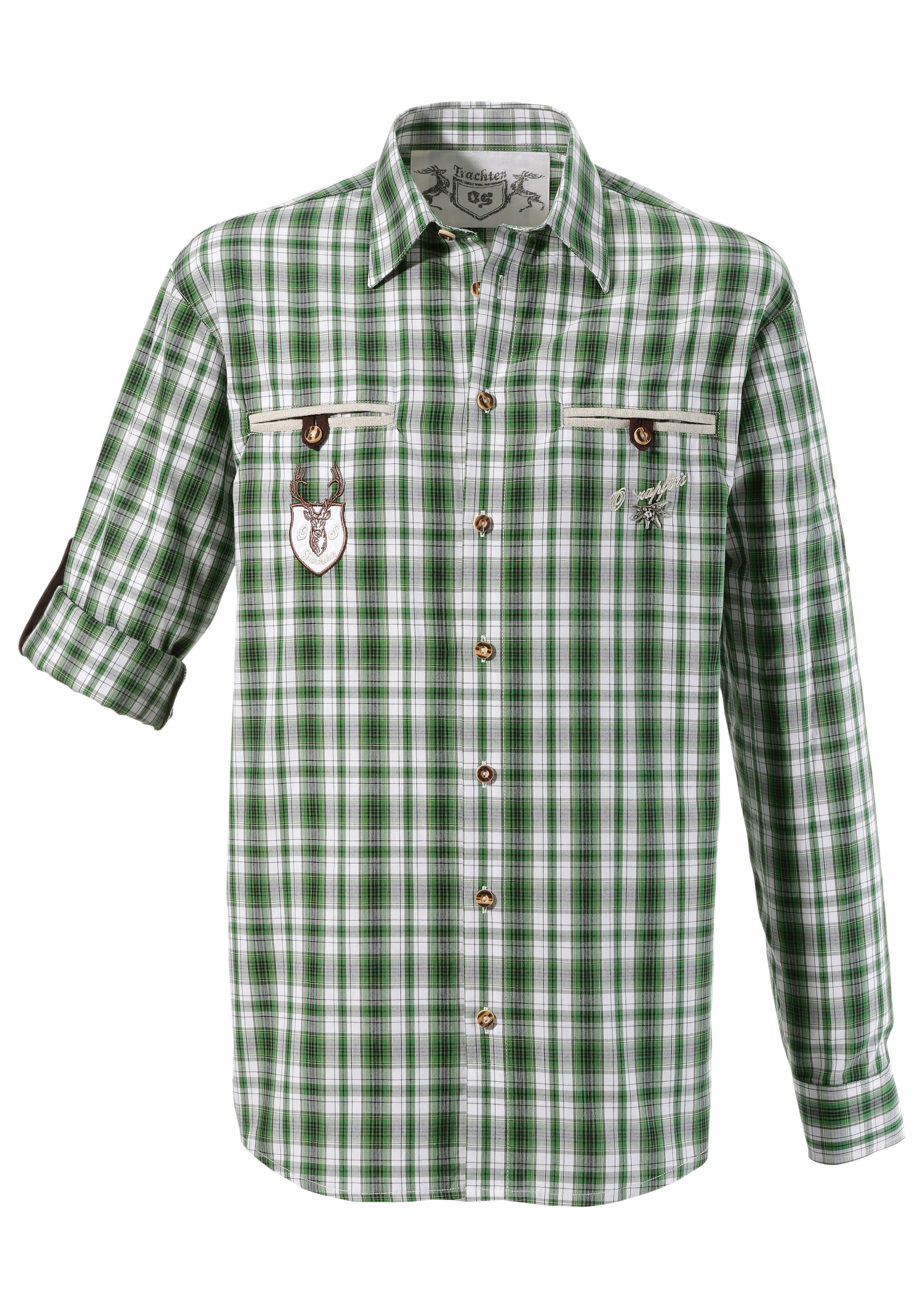 OS-Trachten Trachtenhemd mit Krempelärmel | Bekleidung > Hemden > Trachtenhemden | Grün | Os-Trachten