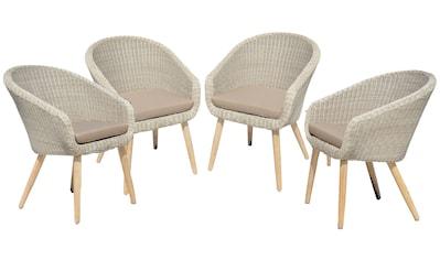 Garden Pleasure Gartenstuhl »ARVADA«, 4er Set, Akazie/Polyrattan, braun, inkl. Sitzkissen kaufen