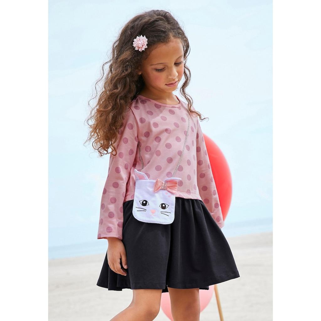KIDSWORLD Jerseykleid, mit appliziertem Glitzerband und kleiner Tasche