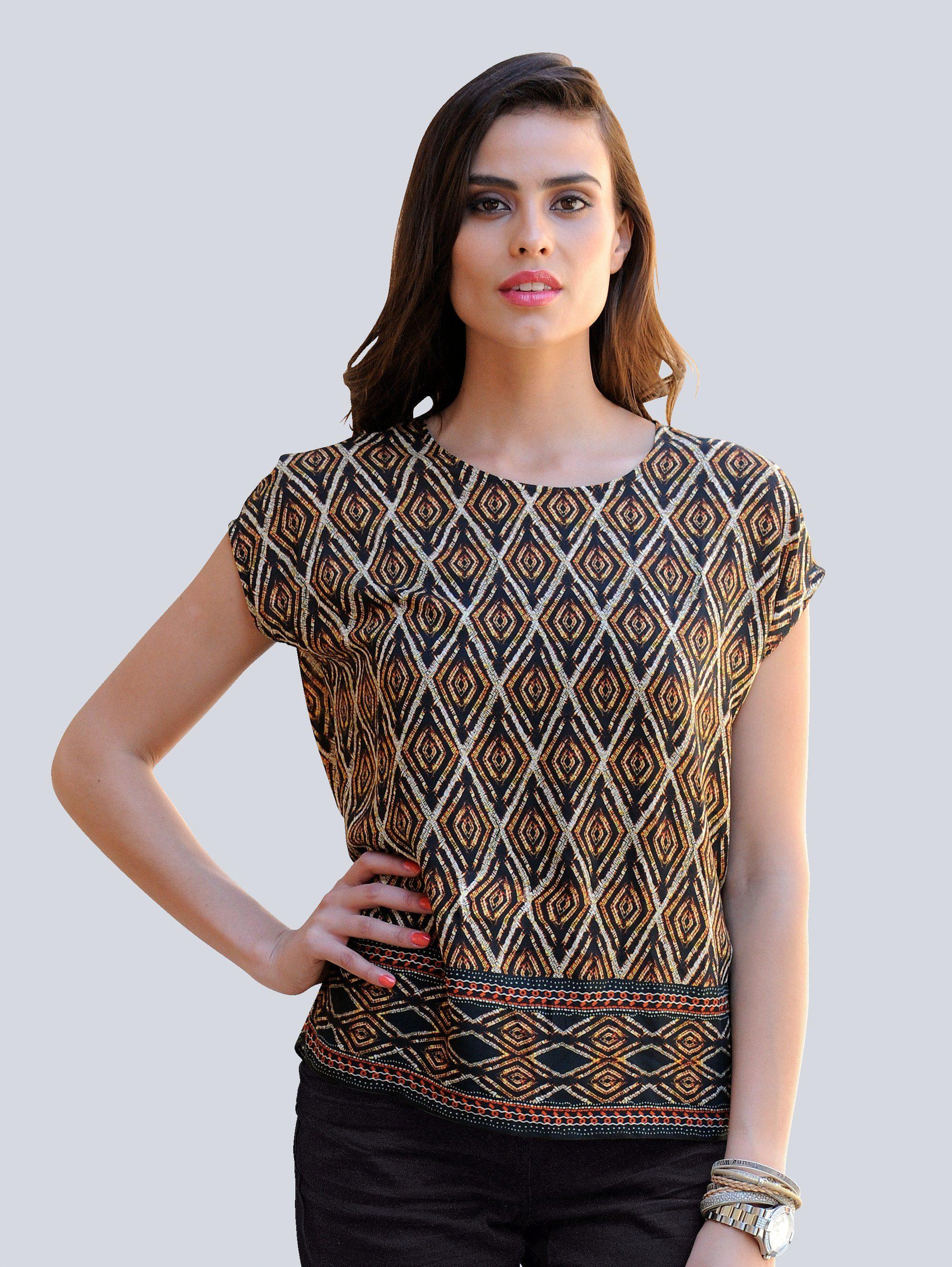 Alba Moda Blusenshirt mit modischem Ethnoprint