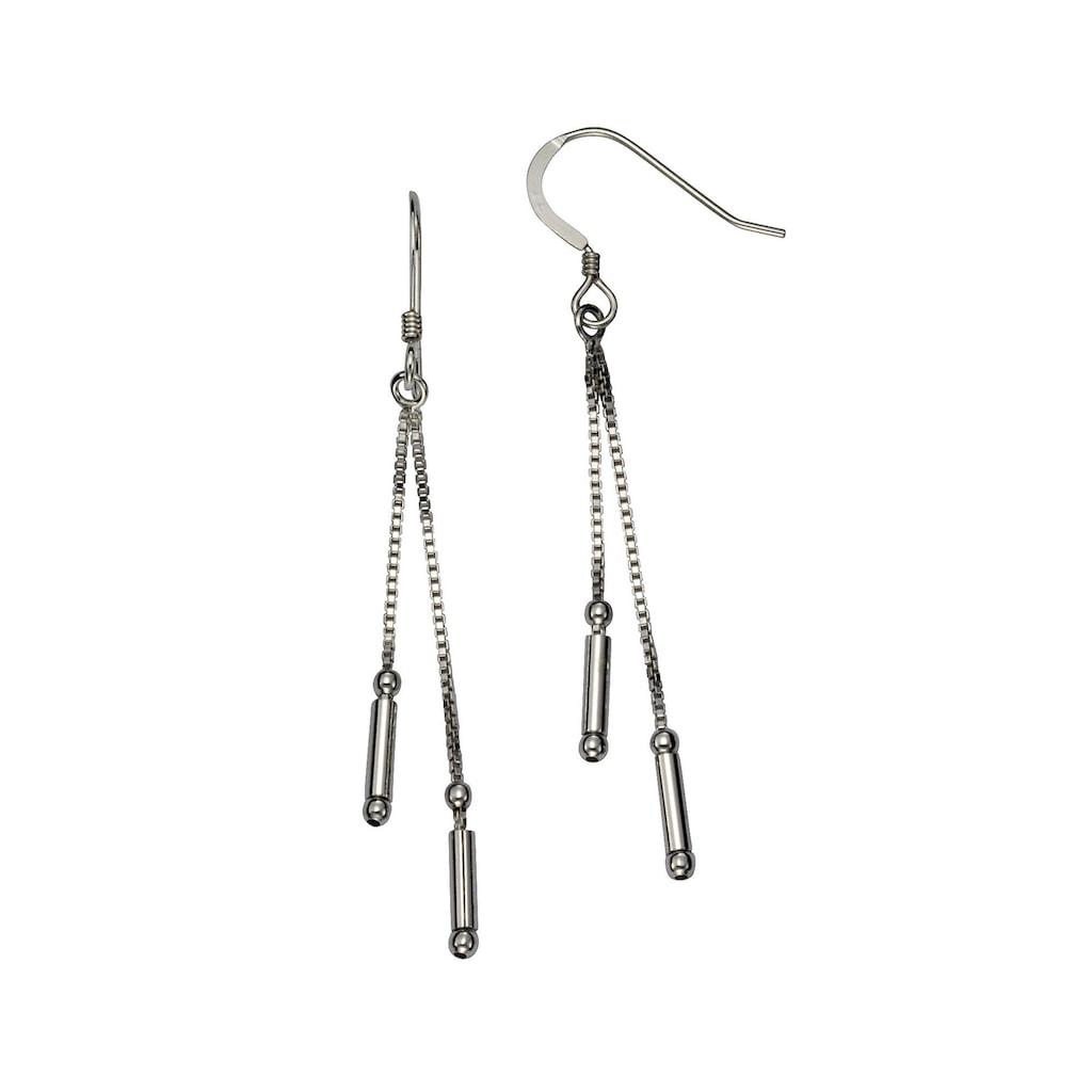 Vivance Paar Ohrhaken »925/- Sterling Silber zweireihig«, rhodiniert