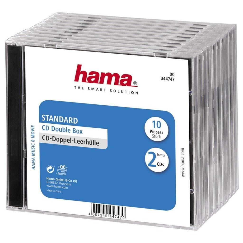 Hama CD-Doppel-Leerhülle Standard, 10er-Pack, Transparent/Schwarz