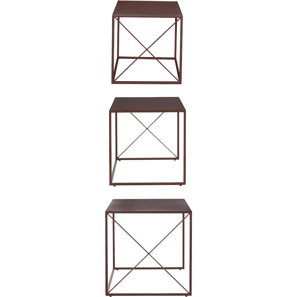 LeGer Home by Lena Gercke Couchtisch »Femke«, (Set, 3 St., 3tlg.-Set), 3 verschiedene Größen, Gestell und Tischplatte aus Metall