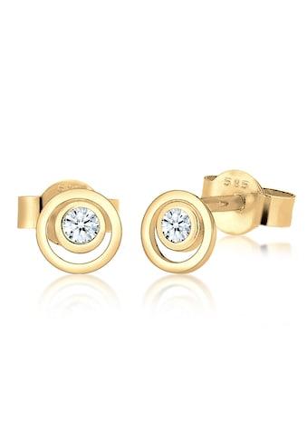Diamore Paar Ohrstecker »Kreis Layer Diamant Hochwertig 585 Gelbgold« kaufen