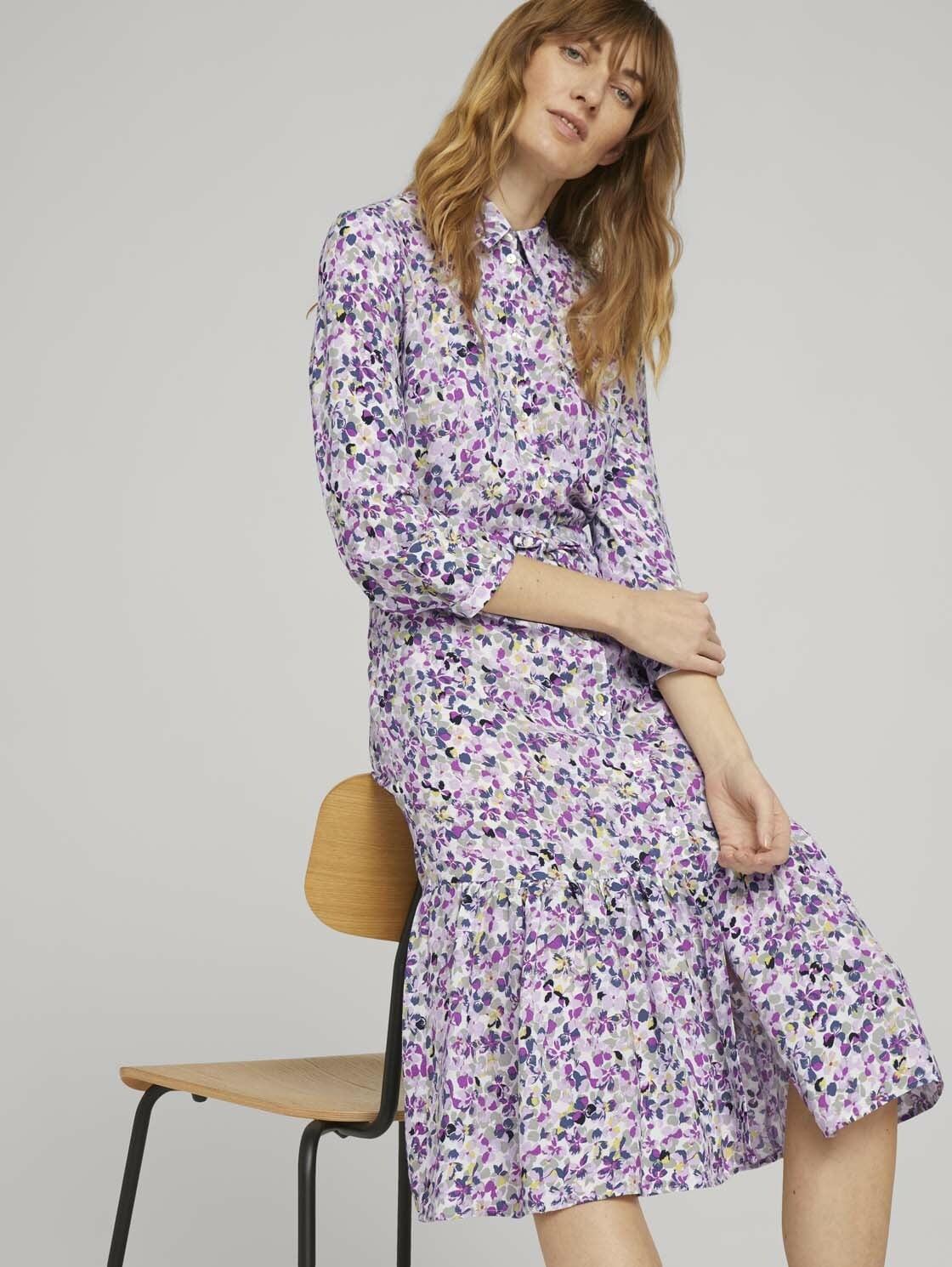 tom tailor -  Blusenkleid Midi Blusenkleid mit Blumen