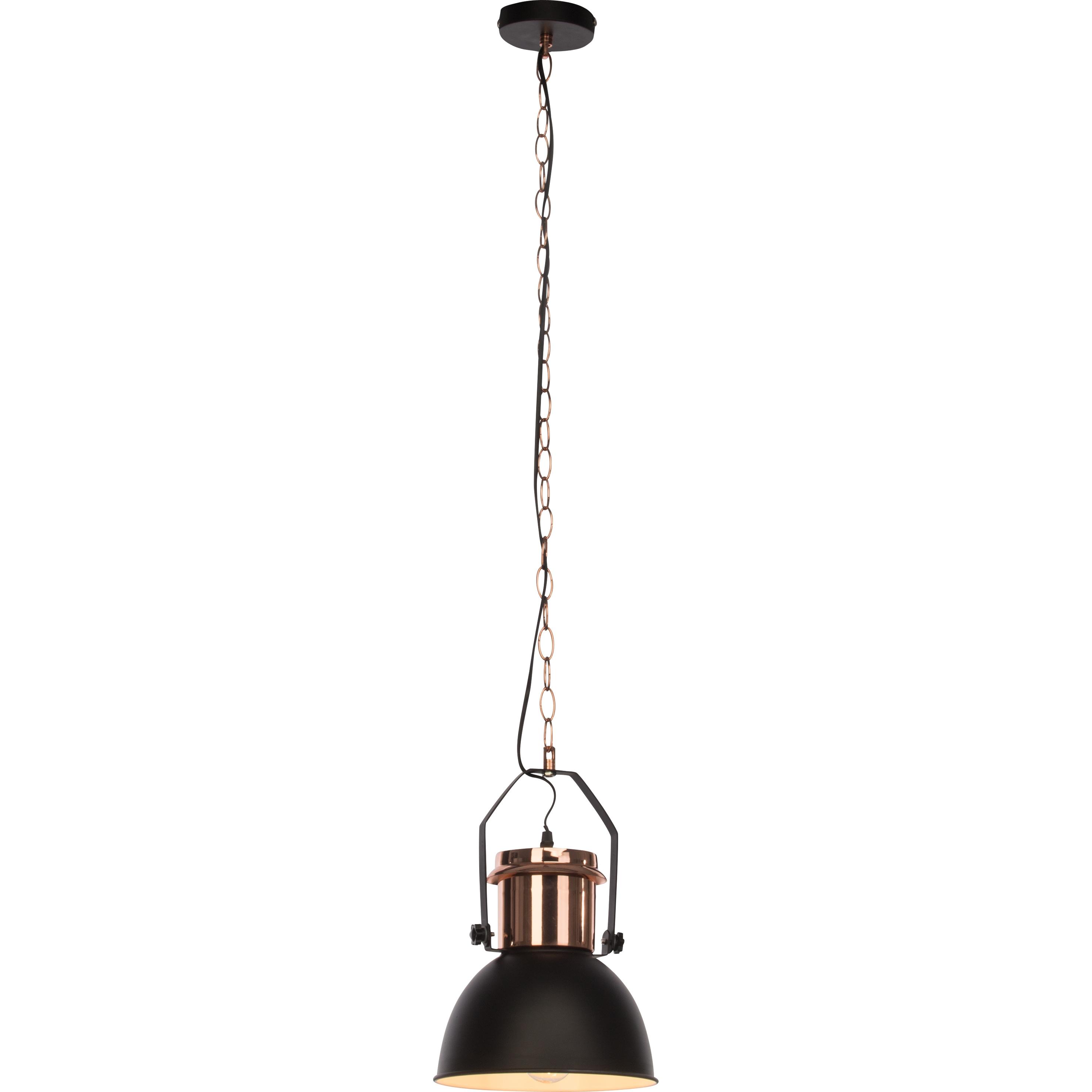 Brilliant Leuchten Salford Pendelleuchte 23cm schwarz/kupfer