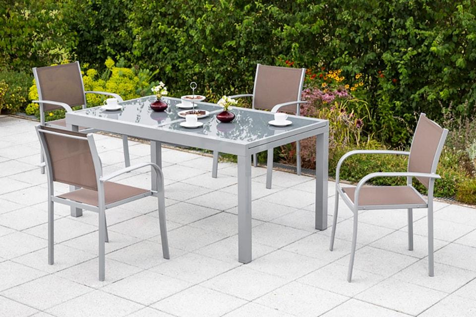 MERXX Diningset Ostia 5-tlg 4 Sessel 1 Tisch 160(220)x90 cm Aluminium