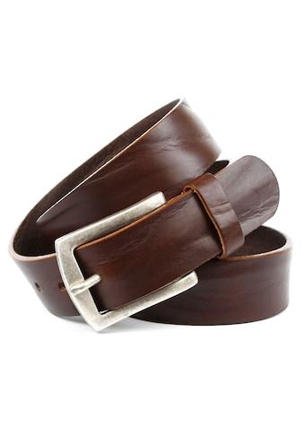 Anthoni Crown Ledergürtel, in dunkelbraun mit matter Schließe im Antik Finish kaufen