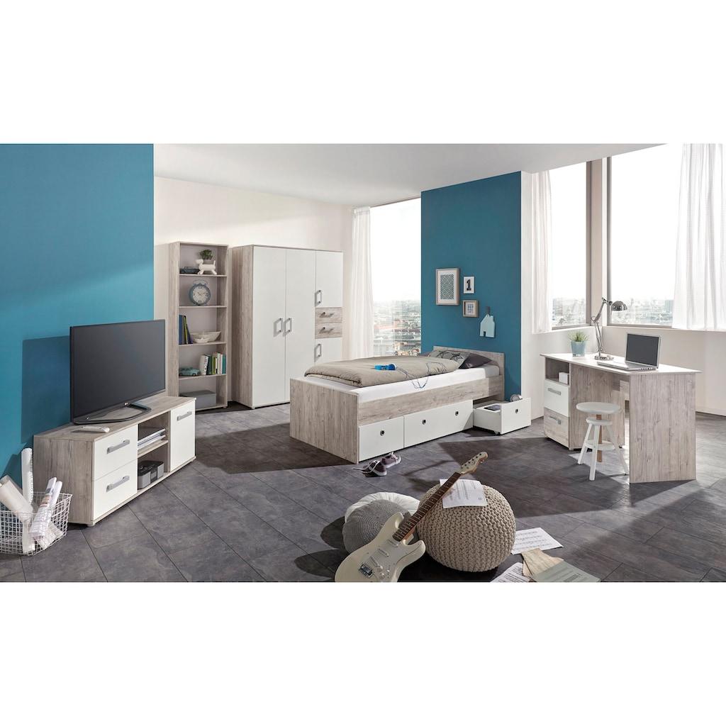 arthur berndt Jugendzimmer-Set »Bente«, (Set, 5 St., Bett + 4 trg. Schrank + Schreibtisch + Standregal + Lowboard)
