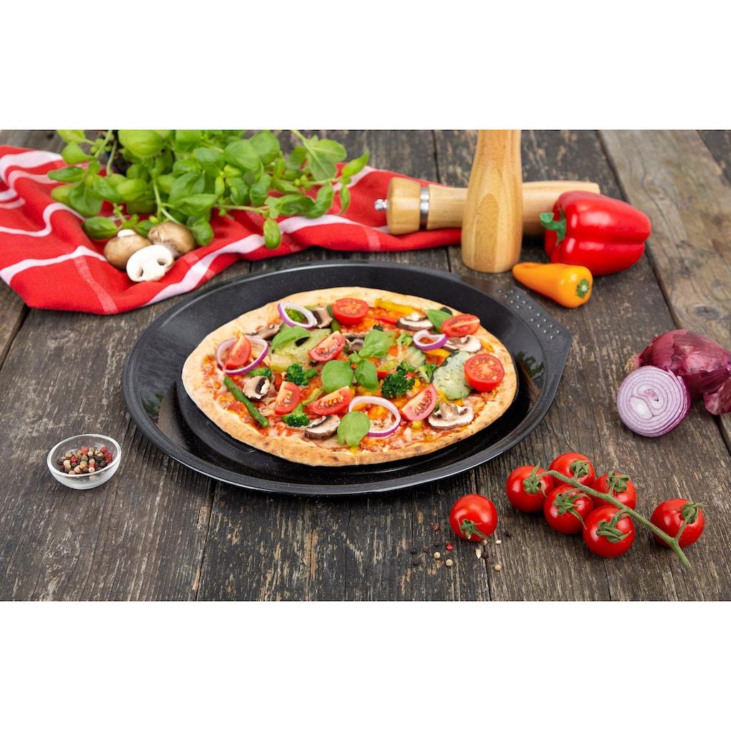 """CHG Pizzablech »PRIMA """"Emaille""""«, Emaille, (1 St.), mit Lochung, hochwertig emailliert, Materialstärke 0,5 mm, schwarz gesprenkelt"""