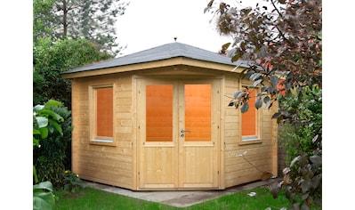 WOLFF FINNHAUS Set: Gartenhaus »Maria 44 - B«, BxT: 412x412 cm, Fußboden, schwarze Schindeln, Dachhaube kaufen