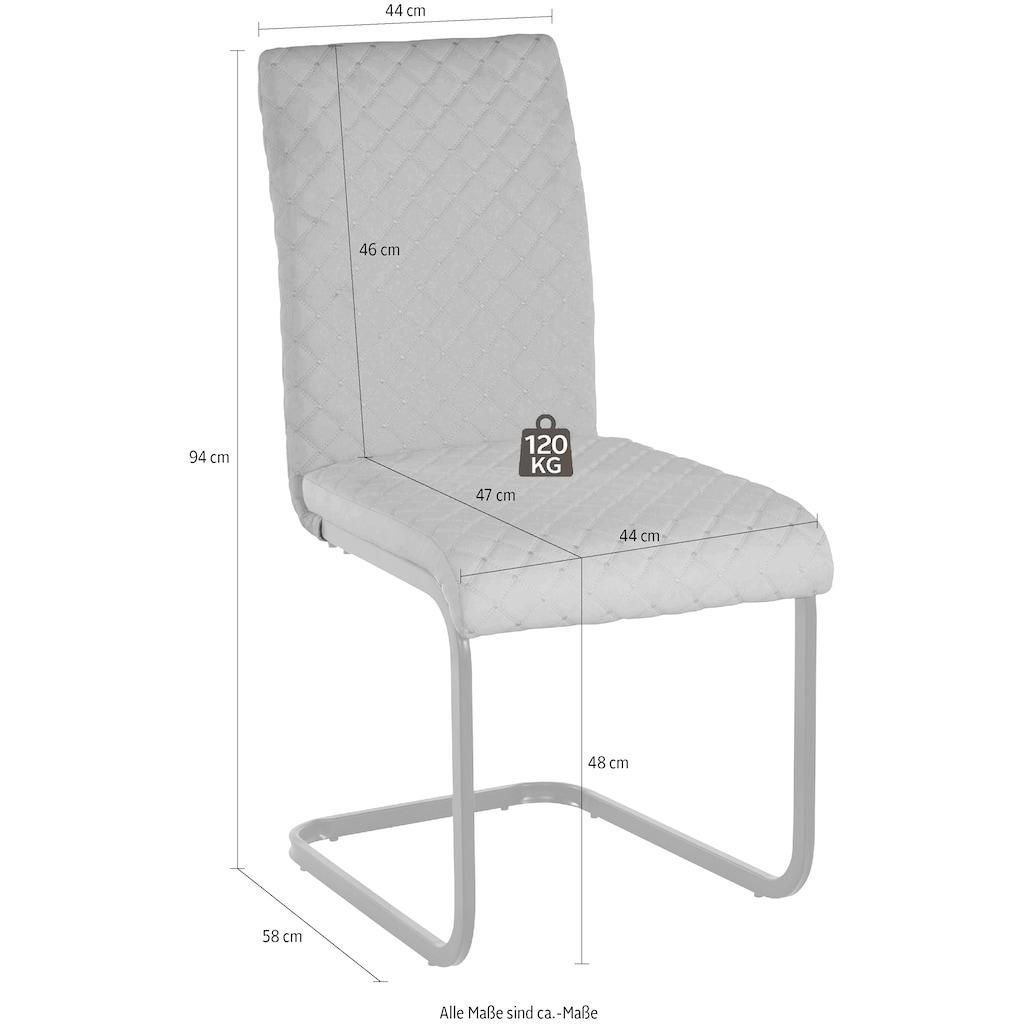 INOSIGN Esszimmerstuhl »Maila«, mit einem pflegeleichten Kunstleder Bezug, mit einem Kufengestell aus Metall, Sitzhöhe 48 cm