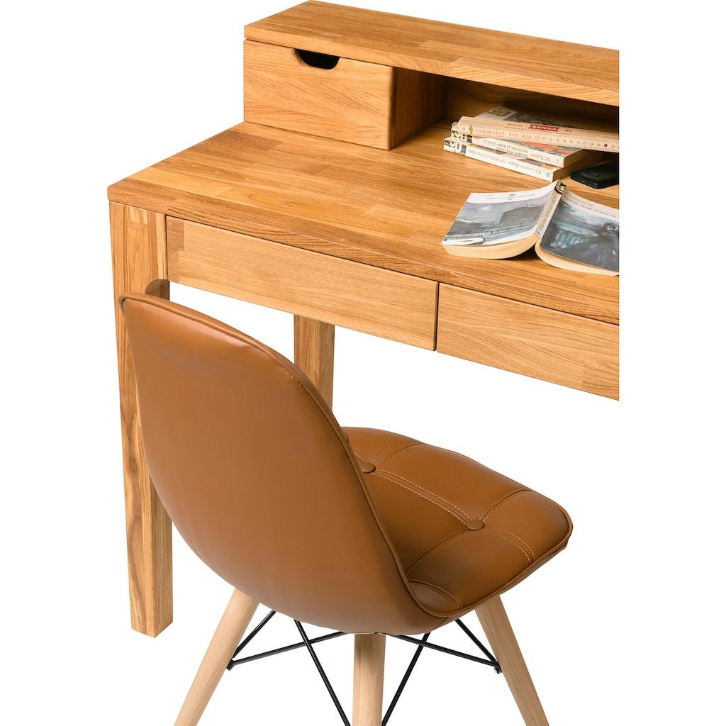 andas Schreibtisch »Marsens«, aus schönem massivem Eichenholz, 4 Schubladen, mit einem Aufsatz