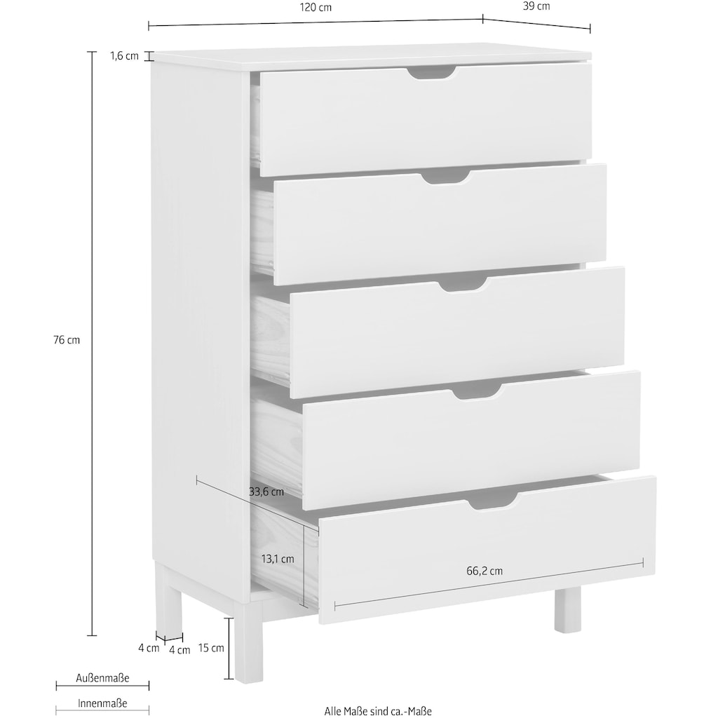 Home affaire Kommode »Post«, aus schönem massivem Kiefernholz, mit vielen Stauraummöglichkeiten, Breite 76 cm