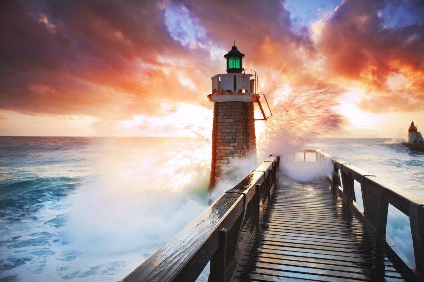 Fototapete Lighthouse, Home affaire orange Fototapeten Tapeten Bauen Renovieren