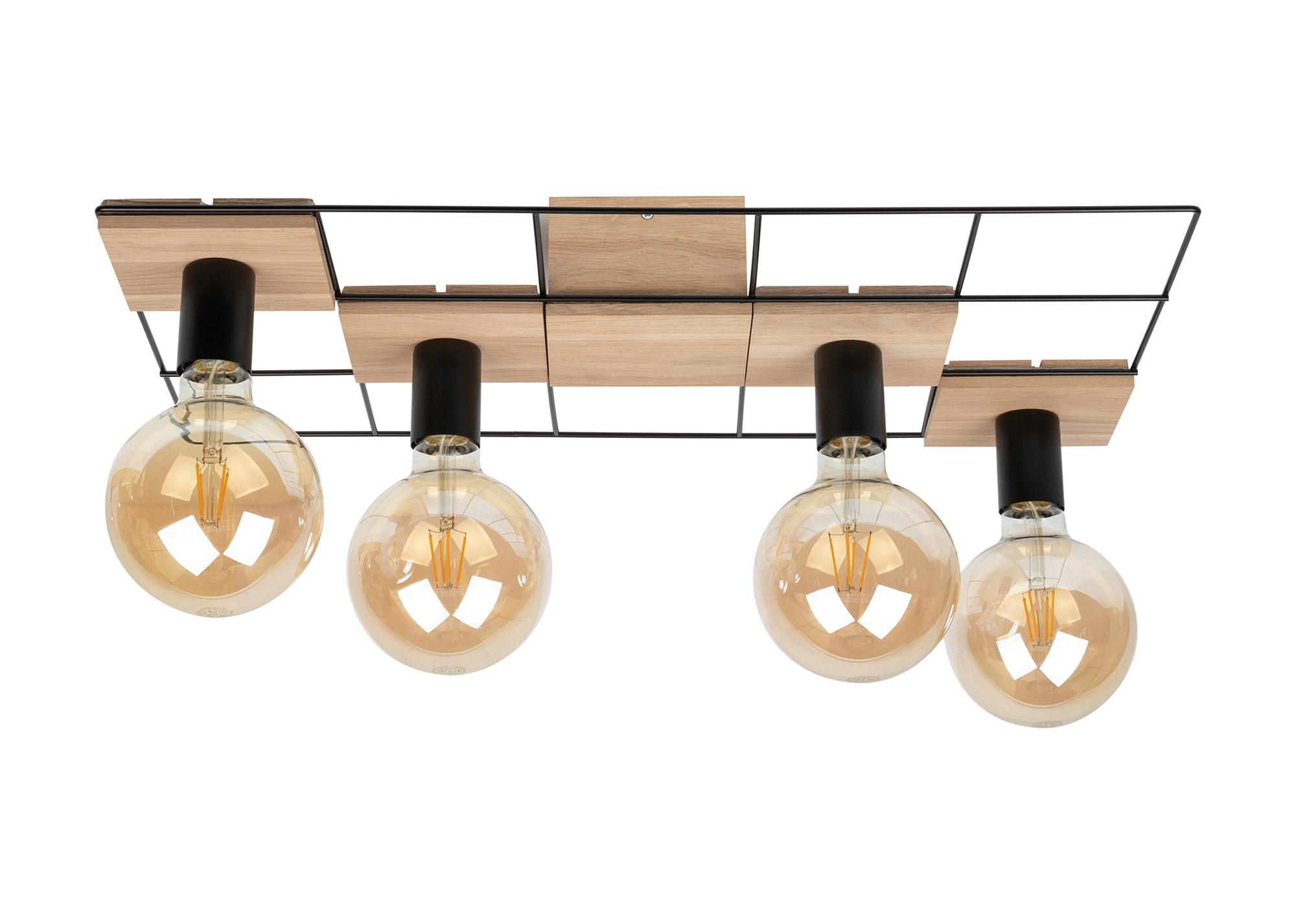 SPOT Light Deckenleuchte CHESTER, E27, Modernes Design, aus Eichenholz und Metall, passende LM E27 / exclusive, Nachhaltig, Made in Europe