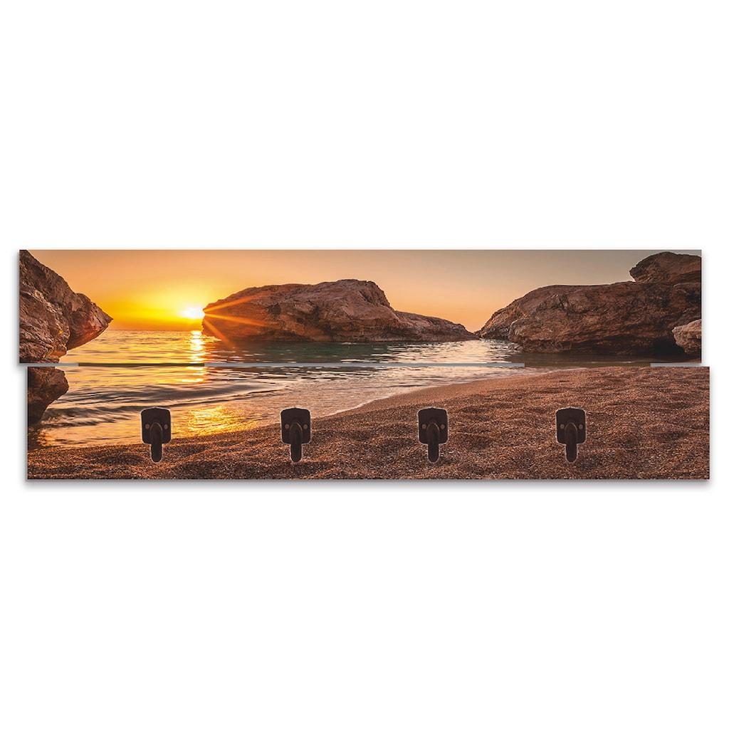 Artland Garderobenpaneel »Sonnenuntergang und Strand«, platzsparende Wandgarderobe aus Holz mit 4 Haken, geeignet für kleinen, schmalen Flur, Flurgarderobe